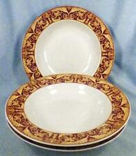 3 Lynns China Valetto Red Soup Bowls Yellow Tan Scrolls Rimmed Dinnerware