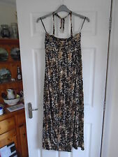 Black/Beige/Brown animal print halter neck maxi sundress with padded cups UK 16