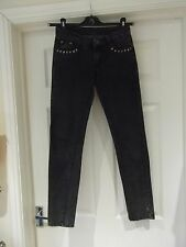 Size 8 10 Skinny Jeans by ONLY in Charcoal Grey Black Distressed Studded 12cb5db073