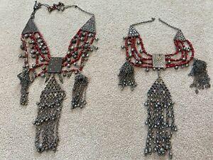 Lot of 2 Vintage Yemen Bedouin Silver Carnelian Necklaces 24x10 16x10 Good Cond