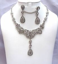 Beautiful Silver Unique Cocktail Bridal Necklace Earring Jewellery  Set