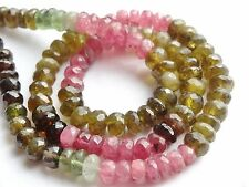 """HAND FACETED TOURMALINE RONDELLES, approx 6mm, 14.5"""", 110 beads"""