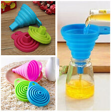 2PCS NEW MINI SILICONE GEL FOLDABLE COLLAPSIBLE STYLE FUNNEL HOPPER KITCHEN TOOL