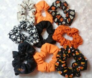 Handmade Halloween Cotton Scrunchies Hair Ties Holders ~14 Styles to Choose From