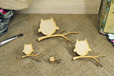 'Owl On A Branch' Craft Shapes - MDF Wooden Craft Embellishments -  Pack of 20