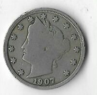 Rare Very Old Antique 1907 US Lady Liberty V Nickel Collection Coin 5 Cent G15