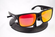 OAKLEY HOLBROOK MATTE BLACK SILVER FRAME / REVANT FIRE RED RUBY POLARIZED CUSTOM