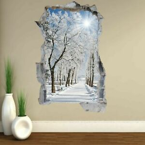 Winter Snow Trees Landscape Wall Art Stickers Mural Decal Home Office Decor EA46