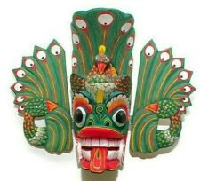 Handmade Wood Wall Home Decor Beautifully Painted Sri Lankan Peacock Mask 12""