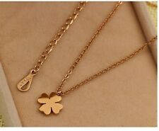 Titanium Stainless Steel 18K Gold Four leaf Clover Pendant Necklace Gift Box PE8