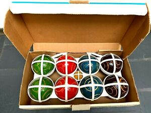 Vintage Sportcraft Bocce Ball Lawn Set 8 Balls 1 Jack In Box with Carry Cradle