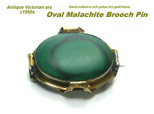 Victorian Malachite Brooch Pin 9ct Gold Oval shape Beautiful condition Antique