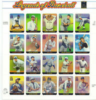 #3408 LEGENDS OF BASEBALL 33 cent full mint sheet of 20 Mint NH OG