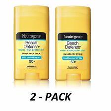 2-PACK Neutrogena Beach Defense Body STICK 1.5oz Sunscreen SPF 50+ UVA/UVB