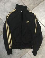 Adidas women black track jacket gold stripes logo eu 36