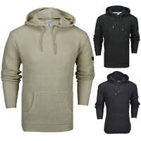 New Mens Soul Star Retro Cable Knit Hood Jumper Long Line Hoody Sweater Pullover