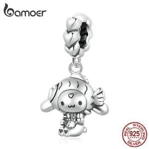 BAMOER European 925 Sterling Silver Charm Christmas Cute Dog Dangle For Bracelet
