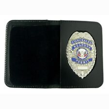 CWP CCW Concealed Carry Weapons Permit Leather Case Wallet Novelty Silver Badge