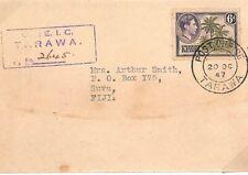 GILBERT & ELLICE KGVI Cover Registered *Tarawa* Fiji 1947 {samwells-covers}Y195