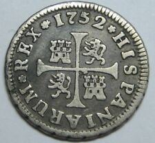 1752 MADRID 1/2 REAL FERDINAND VI BEAUTIFUL SPANISH COLONIAL SILVER COIN SPAIN