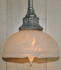 Burnished Silver Mini Pendant Hanging Ceiling Light Fixture Glass Shade Parts