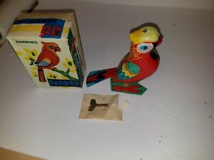 Vintage Tin Wind Up Toy- Jumping Parrot TESTED WORKS KEY INCLUDED