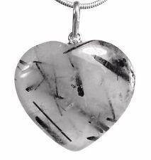 Tourmaline Quartz Heart Gemstone Heart Amulet Pendant Silver Plated Eyelet 3 cm