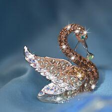 18k gold gp made with swarovski crystal luxury swan brooch colorful fashion