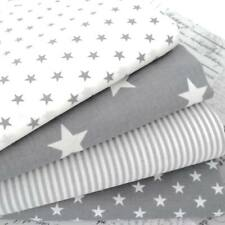 4 X FAT QUARTER BUNDLE STARS CLASSICS - GREY - 100% COTTON FABRIC star stripe