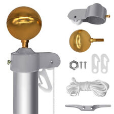 """Flagpole Repair Parts Kit Fit 2"""" Dia Pole Truck Ball Top Cleat Clip Halyard Rope"""