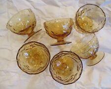 "Morgantown Glass ~ Set of 6 Vintage Golden Iris Crinkle 4"" Footed Icers ~ Mint"