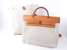 Auth HERMES Her Bag Ado PM Backpack Hand Bag Toile H Calf Leather Beige □G A5362