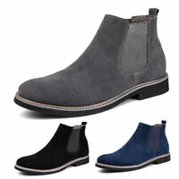 Mens Slip On Suede Chelsea Ankle Boots Comfortable Cotton Warm Casual Shoes 6-9