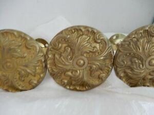 VINTAGE FRENCH FARMHOUSE  Brass Drape Curtain Tiebacks Lot 4 Flower Medallion
