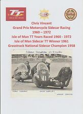 CHRIS VINCENT MOTORCYCLE RACER 1960-1972 IOMTT RARE ORIG HAND SIGNED PICTURE