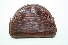 VINTAGE MACY'S ALLIGATOR PURSE EVENING BAG MADE IN ITALY BROWN