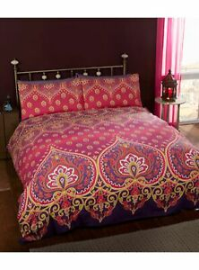 Asha Ruby Duvet Cover Set, exotic inspired design, gold and purple, 3 sizes