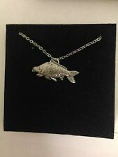 """Mirror Carp PP-F12 English Pewter on a Silver Platinum Plated Necklace 18"""""""