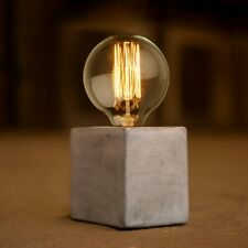 Industrial Style Concrete Lamp Stand Modern Bedside Desk Table Cube Light Base