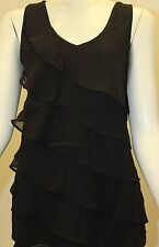 9737fd00898222 Size Small S White House Black Market Sleeveless Black Ruffled Blouse Tank