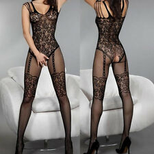 Exqusite Design Much-loved Floral Motif Mesh Body Stockings Black