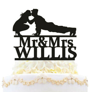 Personalized Military Wedding Cake Topper Mr And Mrs Welcome Home Soldier Decor