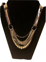 """Modern Upcycled Steampunk Necklace Pearl Silver Tone Rhinestone Cloth 20"""""""