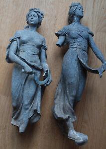 Säerin und Ernte Frau mit Sichel. Antik. Erdfund?Artefakt 2 Figuren: Beschädigt!