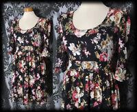 Gothic Black Lace Floral LOST LOVE Layer Tea Dress 8 10 Skater Victorian Vintage