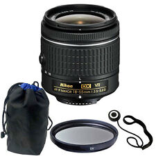 Nikon 18-55mm f/3.5 - 5.6G VR AF-P DX Nikkor Lens with 55mm UV for Nikon D5500