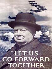 Propaganda di Guerra Churchill andare avanti secondo mondo UK VINTAGE POSTER 1092pylv