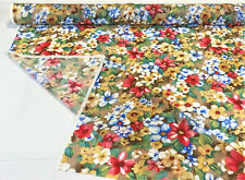 """Tan Floral Shirting Blouse Apparel Fabric 100% Pima Cotton 41"""" Wide By The Yard"""