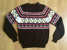 VTG 70s JcPenney Ski Sweater Hipster Retro Fair Isle Knit GEO Graphic Ugly Sz S