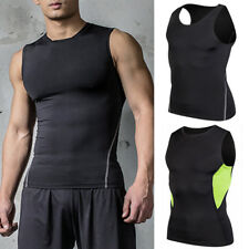 Mens Compression Vest Under Shirt Sleeveless Tank Tops Sports T-Shirts Gym Wear
